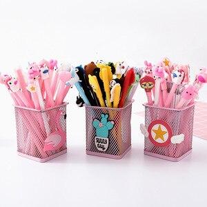 20 stifte + 20 Refill mit Stift behälter niedlich Cartoon schwarz Tinte Gel Stift Schule Bürobedarf Geschenk Schreibwaren Papelaria escolar
