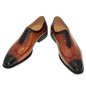Image 4 - ของแท้หนังผู้ชายรองเท้าสำนักงานธุรกิจงานแต่งงานผสมสีหรูหราอย่างเป็นทางการ Brogue ชี้ Toe Oxfords รองเท้าบุรุษ