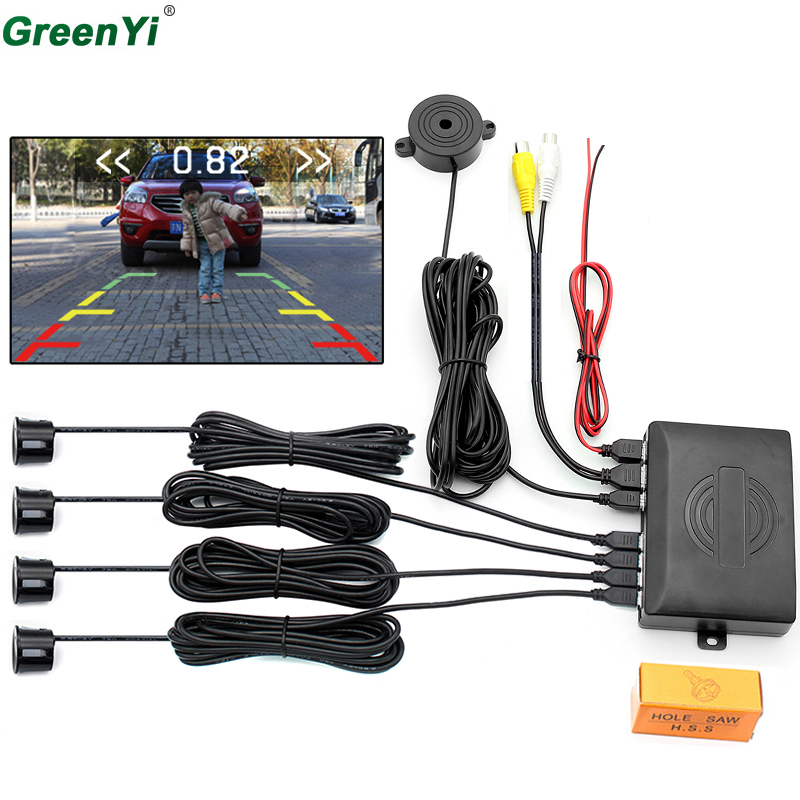 DC12V Dual Core CPU Car Video Parking Sensor Reverse Backup Radar Detector Assistance With Video Signal Input 4 Sensors 6 Color