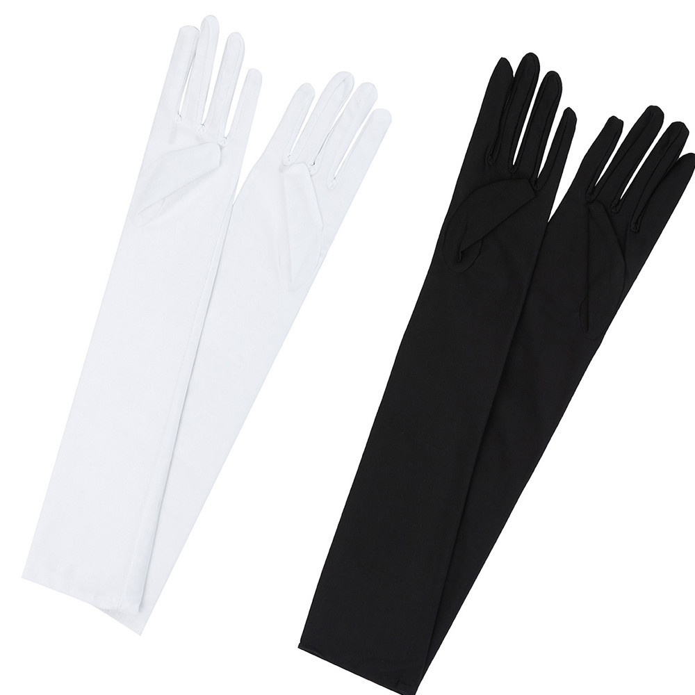 Women Sexy keep warm Party Gloves 22'' Long Black White Satin Finger Mittens L50/1225