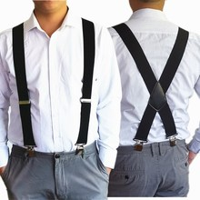 BD057--Cool 5cm Width Men suspenders 4 clips Leather Big size Braces  free shipping