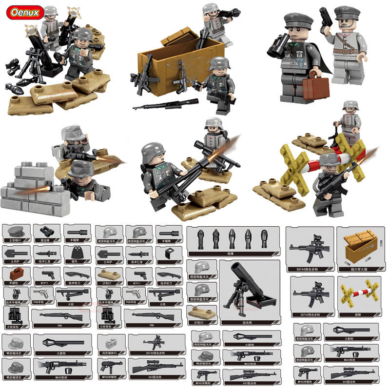Oenux 12PCS WW2 German Army Special Forces Military Building Block Set With DIY Sticker Military Soldier Figures Brick Kids Toy 4pcs ww2 the battle of black forest militray model building blocks set army german soldier minifigures bricks toy for kids gifts