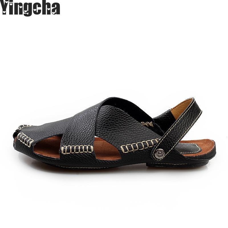 2018 Summer Mens Sandals Slippers Genuine Leather Sandals Outdoor Casual Men Leather Sandals For Men Men Beach Shoe