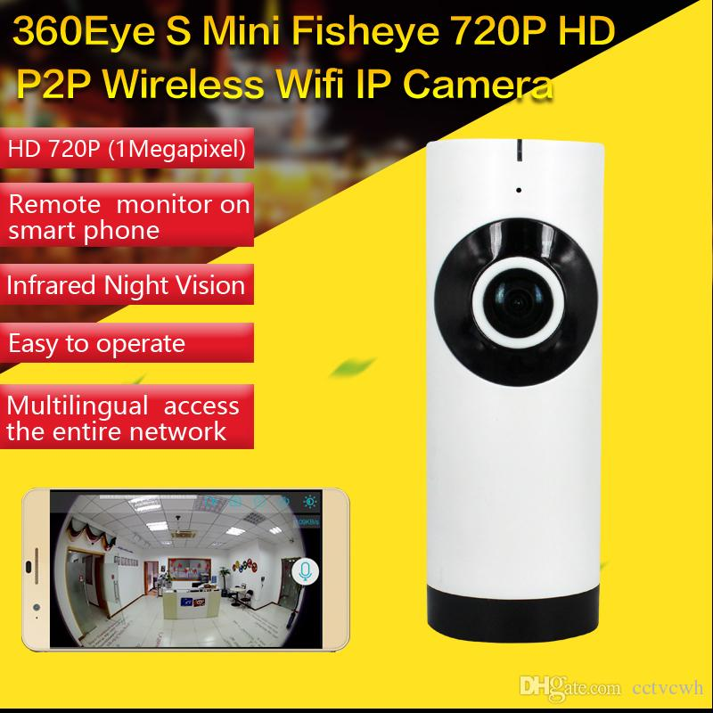 ФОТО 180 Degree Mini WiFi Panoramic IP Camera HD 720P Fisheye Micro SD Camera Wireless Network Audio Surveillance Night Vision Cam