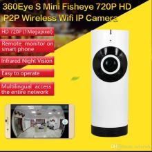 180 Degree Mini WiFi Panoramic IP Camera HD 720P Fisheye Micro SD Camera Wireless Network Audio Surveillance Night Vision Cam