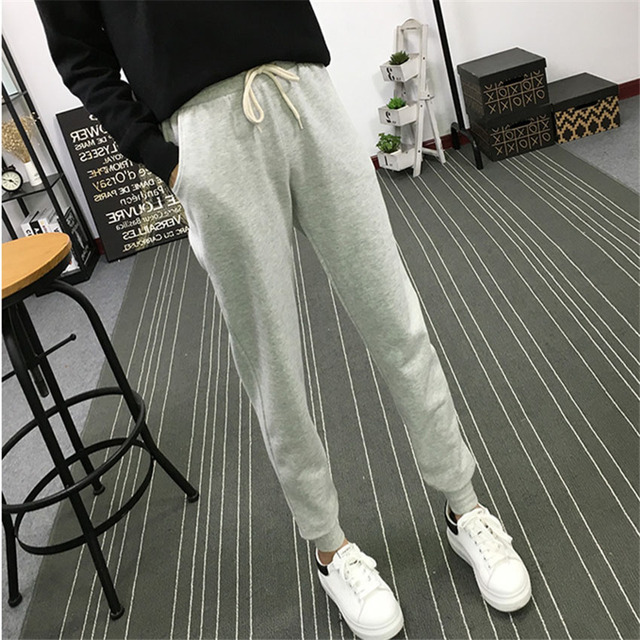 Summer New Fitness Long Pants Female Leisure Soft Trousers for Women Drawstring Solid Color Casual Harem Pants Woman M-2XL Size