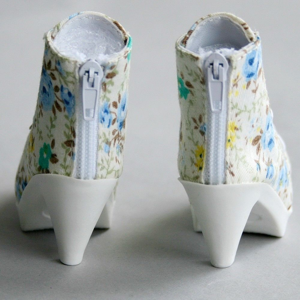 [wamami] 48# Blue Flower 1/3 SD BJD DOD Dollfie High Heels Flanging Boots/Shoes-7.5cm 1 3 1 4 bjd sd cute shoes sd dod luts bjd dz lacing short boots sh26