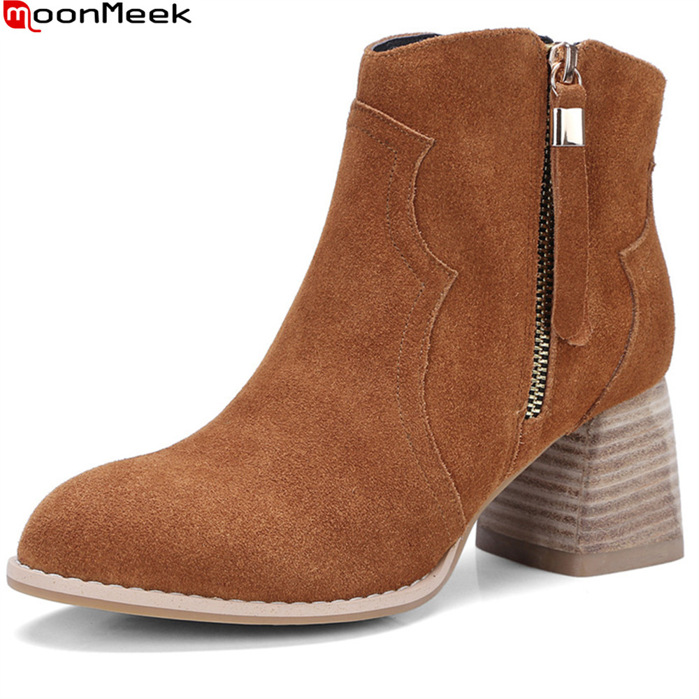 MoonMeek fashion new arrive women boots black brown cow suede ladies boots round toe zipper leather ankle boots big size 32-43 new arrival women genuine leather flat ankle boots fashion round toe lace up ankle boots for women ladies casual cow suede boots