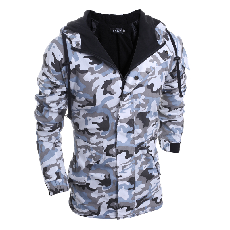 ФОТО New Autumn Winter Cotton-Padded Camouflage Parkas Men Military Medium-Long Parkas