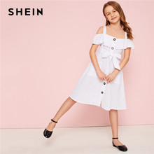 SHEIN Kiddie White Cold Shoulder Ruffle Trim Belted Boho Shirt Dress 2019 Summer Button Front High Waist Knee Length Cute Dress(China)