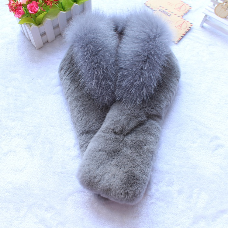 2018 new style one whole piece rex rabbit fur scarf with fox fur trim fashion natural fur stole neck warmer for winter coat wrap