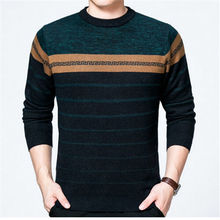 Fashion Striped designed Wool blends knitted Men's Sweaters 2017 Winter thick warm clothing O-neck Casual Slim Pullovers male