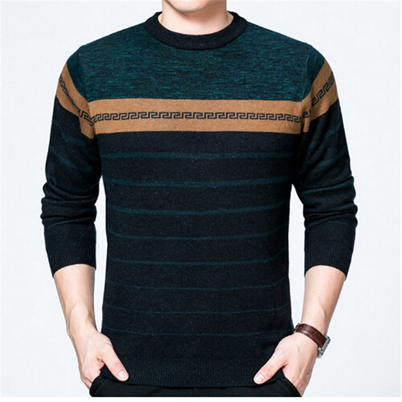 Fashion Striped designed Wool blends knitted Mens Sweaters 2017 Winter thick warm clothing O-neck Casual Slim Pullovers male