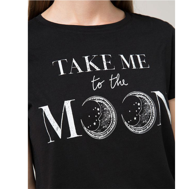668c652b597 TAKE ME TO THE MOON Letter Shirts Aesthetic Clothing Women S Graphic Tees  Tumblr Popular Shirts Black Summer Tops