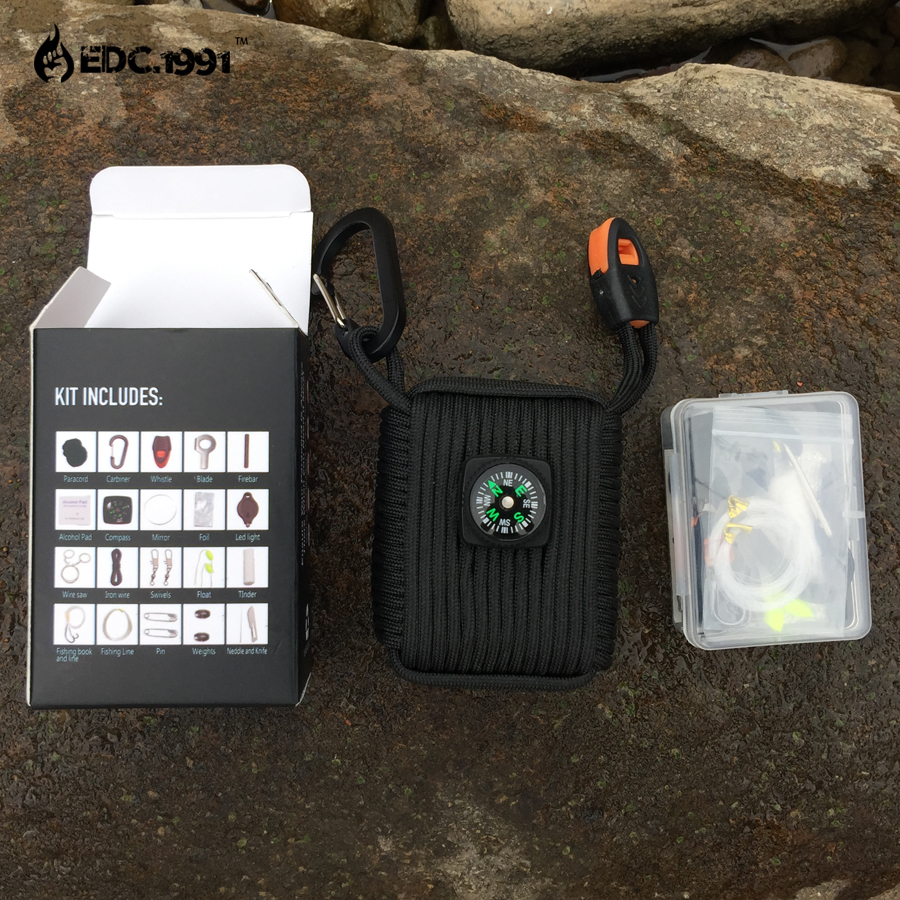EDC.1991 23 in 1 EDC Survival Kit Gear Hiking Outdoor Camping Set paracord Wire Saw Card knife Whistle Flashlight best gift 10 in 1 emergency survival gear professional first aid kit outdoor camping hiking survival tools whistle flashlight tactical pen