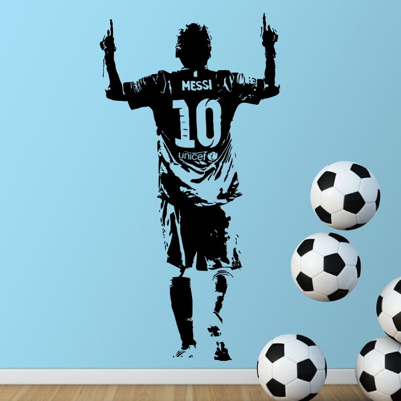Nuovo design Lionel Messi Figura Wall Sticker vinile fai da te Home Decor Football Star decalcomanie Soccer Atleta per la camera dei bambini