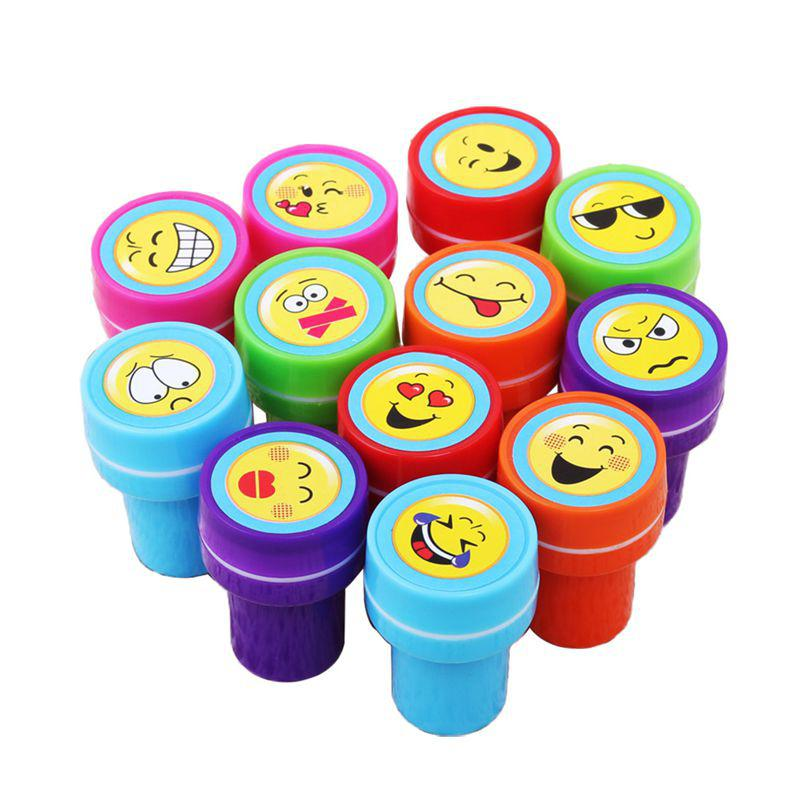 Adeeing 5 lot Cute Cartoon Smile Face Self Inking Rubber Stamp Set for Scrapbooking school supplies with gift box 10 digit 9 wheels gray light blue rubber band self inking numbering stamp