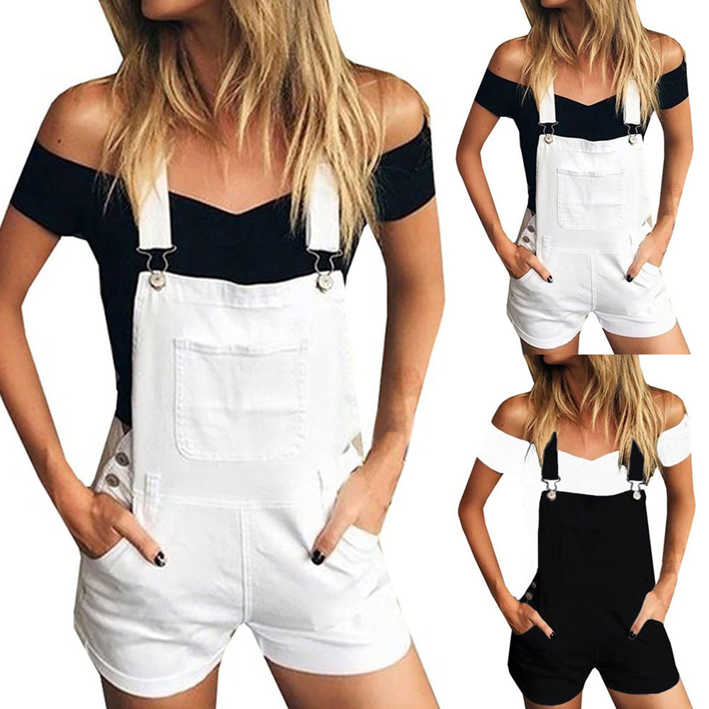 Hot ladies Denim pants women summer Casual Pants women Short Loose Denim Bib Hole Pants Overalls   Jeans   Shorts Jumpsuit Y604