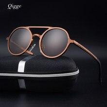 040b361dc6965 Qigge marca nueva moda polarizada gafas De Sol hombres De lujo Male  Circular marco De Metal gafas De Sol UV400 Oculos De Sol