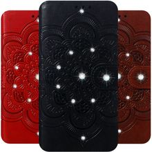 Diamond Mandala Bling Cover Case For Bags LG V40 G8 ThinQ Stylo 5 4 Card Slot Luxury Leather Lady Capa Datura Embossing D13H