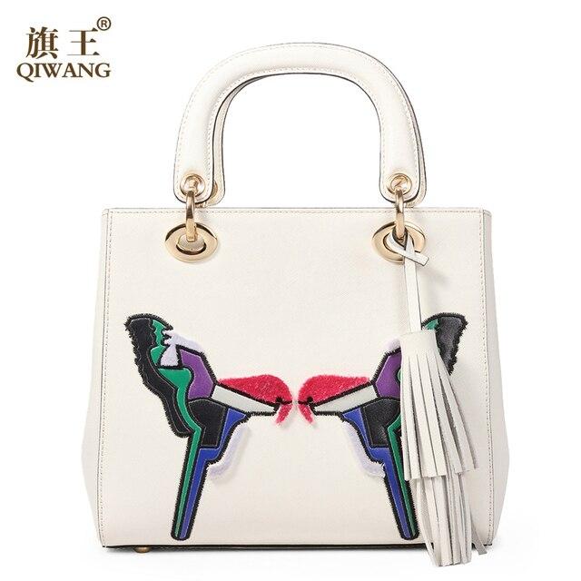 Qi Love Birds Women Handbag Brand Luxurious Handmade Split Leather Bag Luxury Handbags Bags