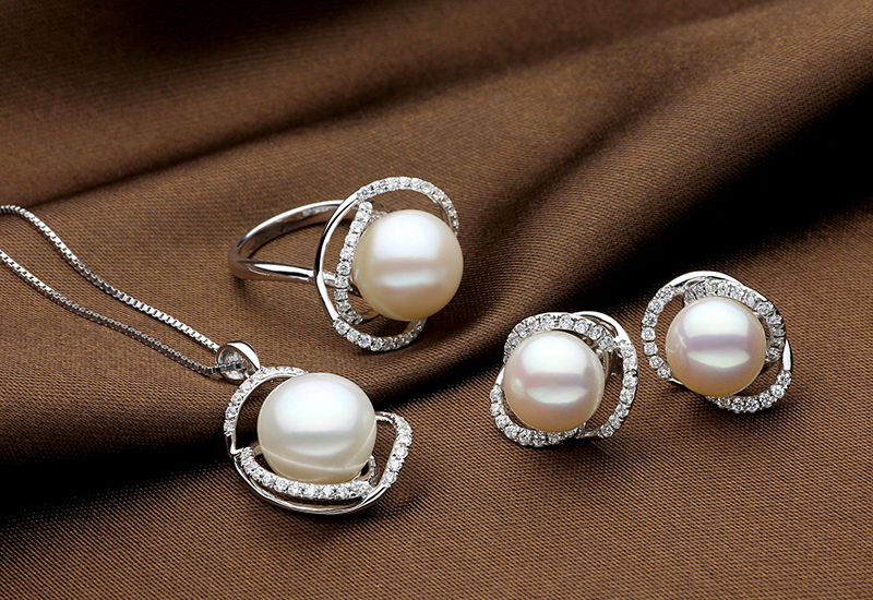 TZ10121WR-TZ10121WP-TZ10121WE pearl silver earring ring necklace set