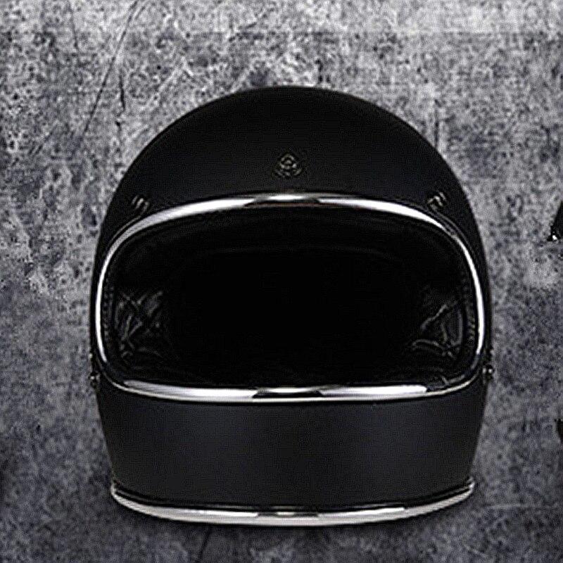 Design rétro casque en fiber de verre Vintage intégral moto casque pur fait à la main cool rembourrage loisirs et coffre-fort