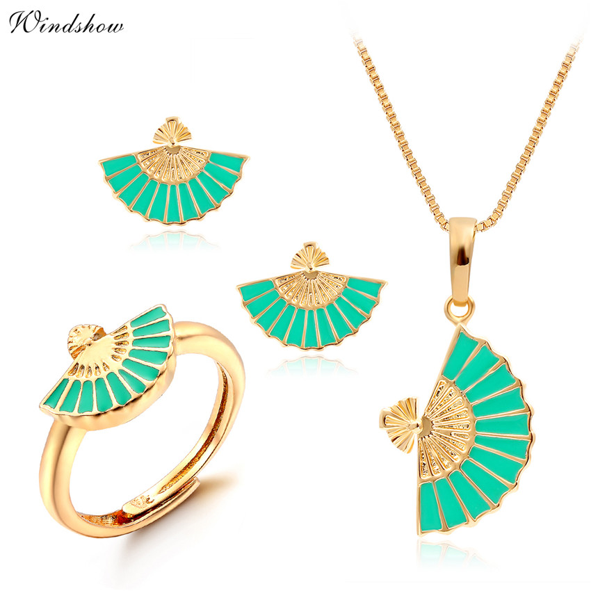 Yellow Gold Color Chinese Green Fan Design Pendant Necklace Stud