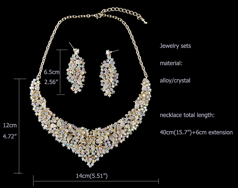 Crystal women wedding jewelry sets golden plated flower deisgn Bridal party necklace earrings set AB crystal jewelry accessories 3