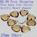 $0.99 Acrylic Rhinestones Heart-shaped Flatback Flat Facets 25mm 10pcs Many Colors Glue On Nails Art Beads DIY Decorations