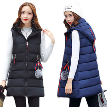 Hooded Thick Long Women Vest Waistcoat 2017 Autumn Winter Warm Female Outerwear Down Parkas Sleeveless Ladies Vest Jacket Coat
