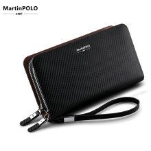 MartinPOLO Men Clutch Bag Genuine Leather Handbag Cowhide Long Wallet Business Double Zipper Phone Credit Card MP2001
