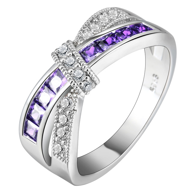 New Fashion CZ Cubic Zirconia Cross Finger Ring Exquisite Princess Women Micro Pave Bands Wedding Engagement Ring Dropshipping