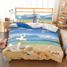 WINLIFE Nautical Bed Set Soft and Easy Care 3D Duvet Cover with Pillow Shams