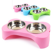Dog Double Bowl Pet Puppy Cat Feeders Water Dispenser Plastic Stainless Steel Combo Dog Supplies Pet