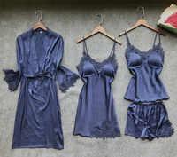 Satin Sleepwear Female with Chest Pads Sexy Women Pajamas Lace Slik Sleep Lounge 4 Pieces Sets Elegant Ladies Indoor Clothing