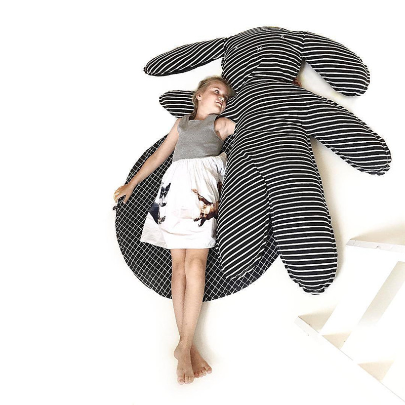 Tapis en coton lapin noir et blanc rayé coton tapis rampant pour enfants accessoires de décoration bébé tapis de jeu