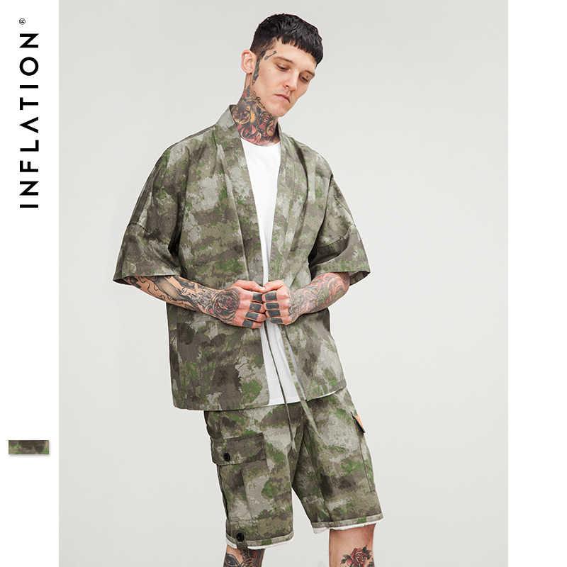 インフレメンズ服着物日本シャツ新ファッションストリート摩耗デザイナーシャツ迷彩半袖カジュアルシャツ 8354 S