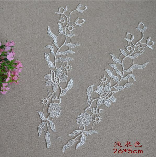 2 Pairs/4 Pieces 26*5cm Novelty Flower Water Soluble Lace Patches For Wedding Dentelle Fabric Lace Applique Trims Free Shipping Delaying Senility Apparel Sewing & Fabric