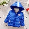 2016 nueva chaqueta de los niños Muchachos de la manera Embroma la capa caliente gruesa Ropa de invierno ropa de Bebé para 3-5 años de edad