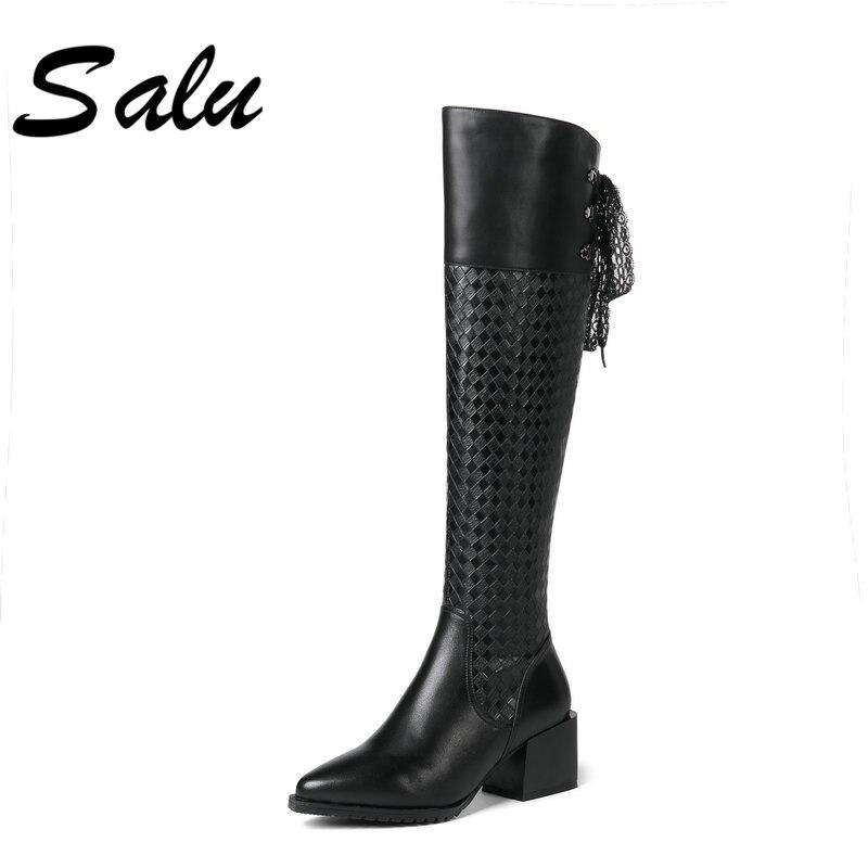 ce76e4693f66d De En Chaussures Salu Fourrure Femmes Laine Bottes Noir Qualité Longues D hiver  Cuir Marque Haute Chaud ...
