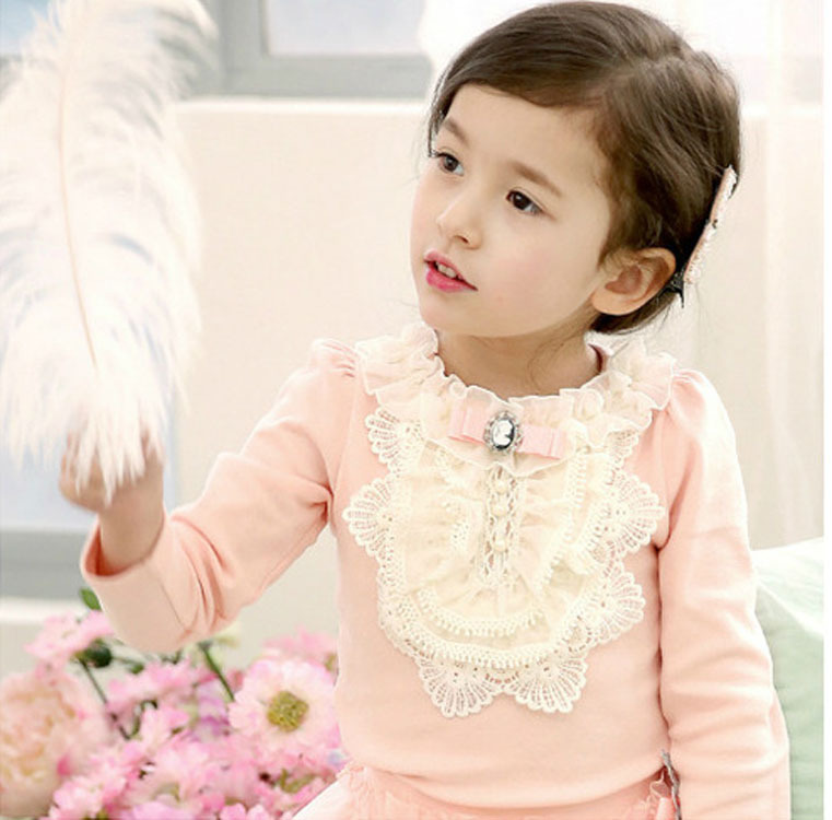 2018 Spring Sweet Baby Girls Lace Pearl Flower   Blouse   Kids Fashion Bow Tops Tees Cotton   Shirts   Toddler Children Casual Clothes
