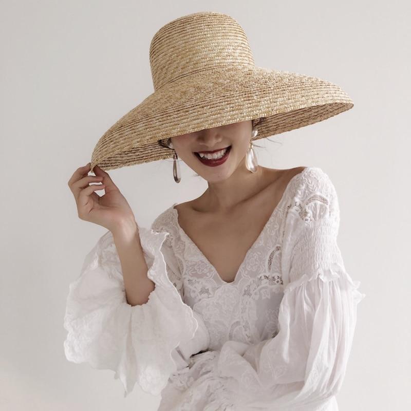 [La MaxPa] mode Chapeau De Paille De Blé Grand Brim Disquette Chapeaux D'été Plage Chapeau de Soleil pour Femmes 2018 Vintage Dames Ruban Cravate Chapeaux