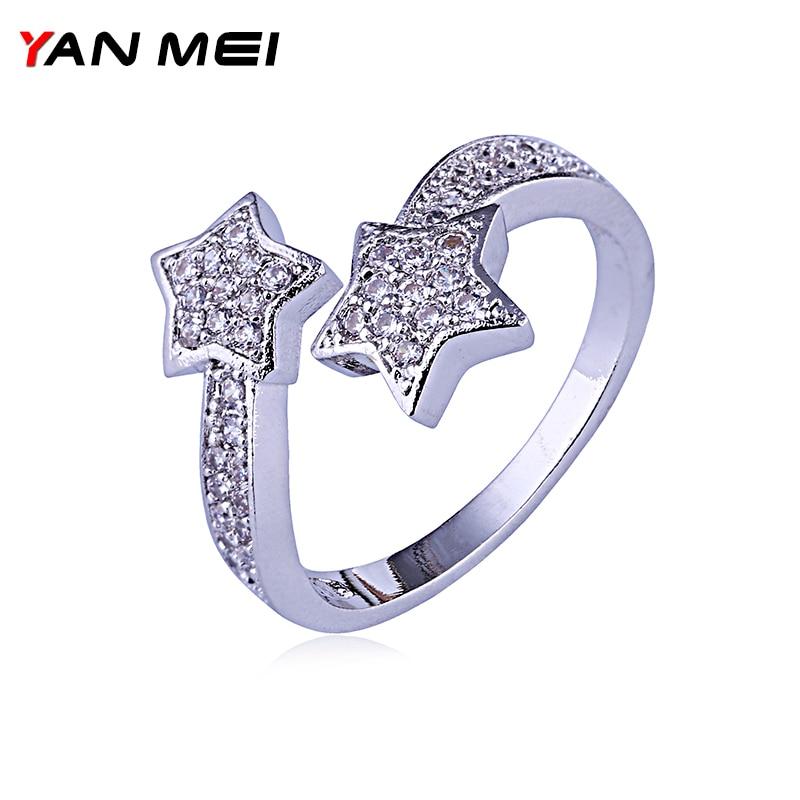 Yanmei Mode Engagement Ringe Für Frauen Stern Form Mit Aaa Cubic Zirkon Surround Die Strass Anillo Ymj1703 Wasserdicht Schmuck & Zubehör StoßFest Und Antimagnetisch
