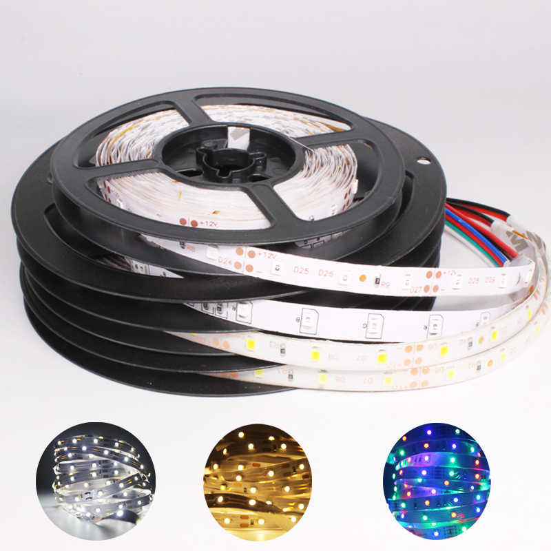 Lampu LED Strip SMD 2835 RGB 5M 300 LED Merah Biru Hijau Putih Pita DC12V Dioda LED Strip Lampu pita Fleksibel RGB Stripe Tape