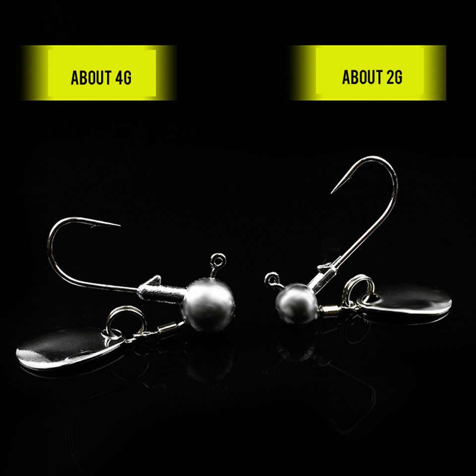 5 قطعة/الوحدة الصيد جولة شكل الكرة خطاف رأسي خضاض 2g 4g عالية الكربون الصلب السنانير Jighead الوزن مع دوران حلقة ملاعق الخطافات