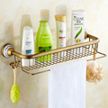 Antique Brushed Bathroom Shelf European Solid Brass Multifunction Bathroom Cosmetic Towel Bar Hooks Bathroom Accessories