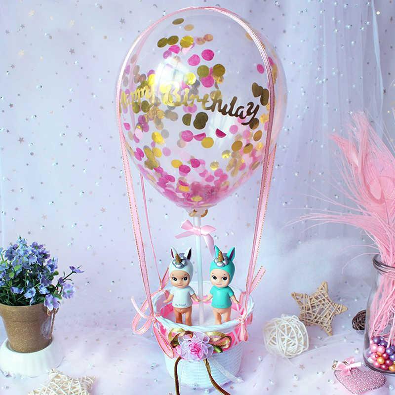 Sequin Balão Quente Berço Happy Birthday Cake Topper Menino/Menina Bolo de Presente Top Bandeiras Decoração Topper do Bolo Do Chuveiro Do Casamento suprimentos