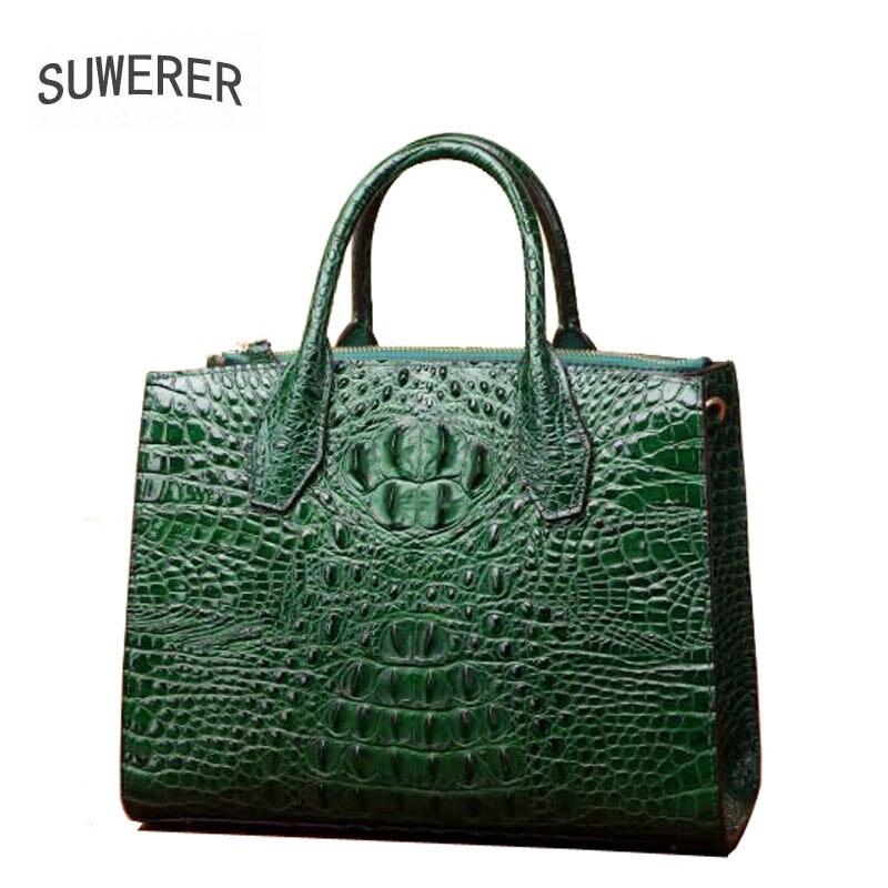 Suwerer Tasche Schoudertas Geprägt blue 2019 Neue Rindsleder Frauen Echtem Dames Luxus Muster Aus Mode Krokodil Black green Leder SpqFSU
