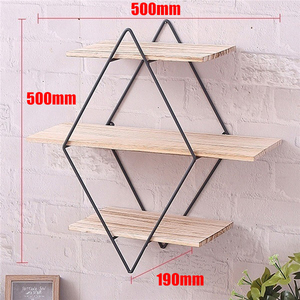 Image 2 - Wooden Iron Wall Storage Shelf Wall Mounted Storage Rack Organization For Kitchen Bedroom Home Decor Kid Room Wall Decor Holder